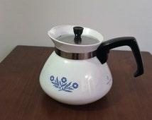"Vintage 1970s Corning Ware ""Blue Cornflower"" 6 Cup Enamel Tea Pot / Retro Corning Ware Coffee Pot"