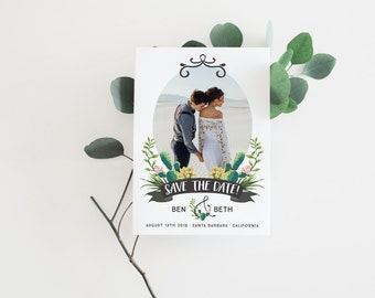 save the date wedding announcement card · printable wedding stationery · botanical engagement announcement · photo save the date · 0 0 2