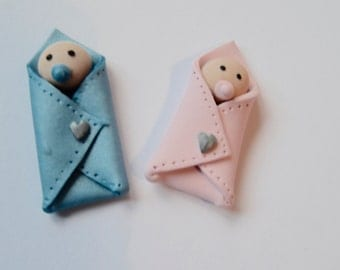 Edible Handmade 3D Tiny Babies in Blanket Fondant - Cupcake Topper Decoration - Baby Shower Decoration