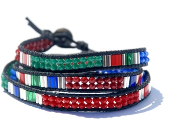 Red, Green & Blue Chinese Crystal Bracelet