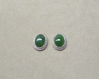 Elegant Jade STERLING silver earrings with a post