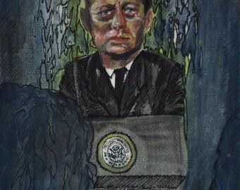 Dream Illustration - JFK Dream - Matted