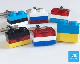 LEGO CUFFLINKS - Flag Cufflinks - Silver Plated Cufflinks - Handmade LEGO(r) Bricks Cufflinks - CU0101