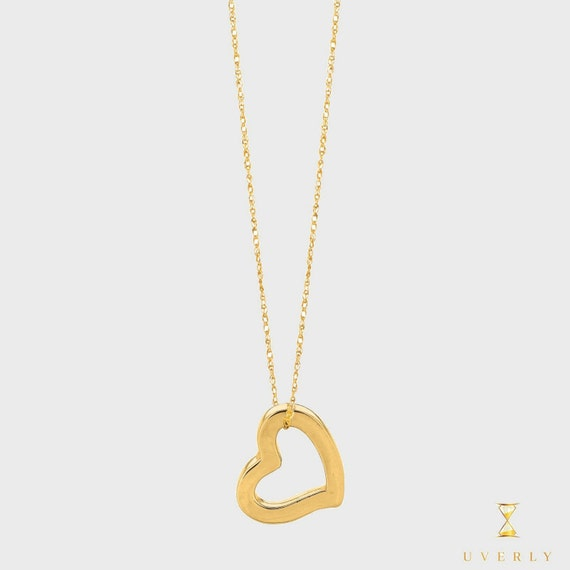 """14k Solid Gold  """"Love Collection"""" Heart Love Charm Pendant Chain Necklace"""