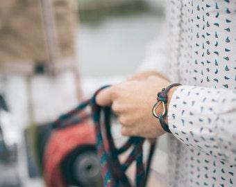 Handmade Customized Nautical Sailing Bracelet gold blue red color | Personalized Men present | Adjustable size, Unisex