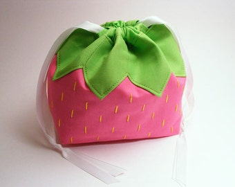 A Pink Strawberry Named Pouchy - Drawstring pouch, omiyage, fruit, japanese, purse, food