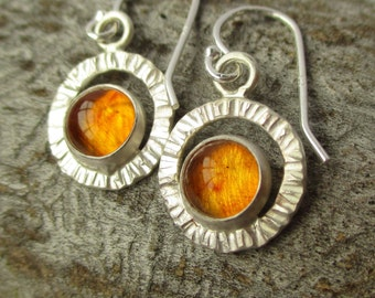 Flutter Earrings - Baltic Amber - Sterling and Fine Silver - HANDMADE