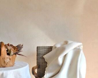 Fluffy Wool Blanket Thick Warm Creamy White Merino Crocheted Edge
