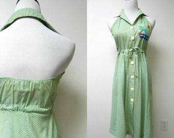 Diane Gilman for Cabal . embroidered halter / backless chevron dress . size 7 / 8