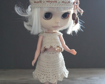 Blythe Crochet Beanie Hat with Crochet Beaded Ties