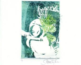 Original Art - Collagraph Print in Aqua - Deep Sea III