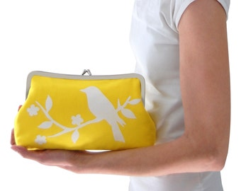 Yellow clutch purse, Screen printed handbag, Fabric clutch bag, Yellow wedding clutch, Bird handbag, Yellow evening clutch, Handmade clutch