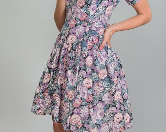 SALE-20% OFF-Vintage Lilac Floral Party Girl Dress (Size Small)