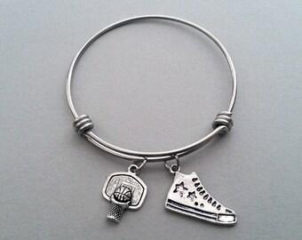 Basketball Charm Bracelet, Basketball Bangle, Basketball Bracelet, Basketball Coach, Sports Jewelry, Sports Bracelet, Stainless Steel Bangle
