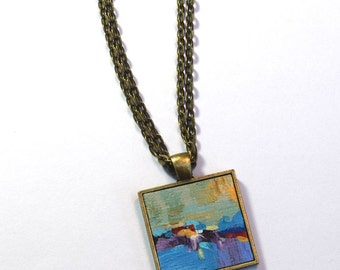 Hand painted Necklace, FREE Shipping, Art Pendant Necklace, One of a Kind, Abstract Art, Wearable Art - Handpainted, Blue, Green, Yellow