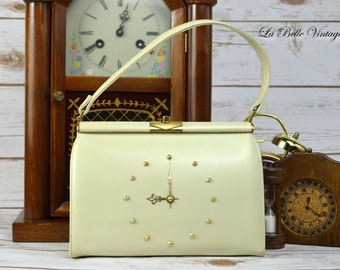 Vintage Clock Purse ~ 1960s Novelty Ivory Handbag ~  Coblentz Leather
