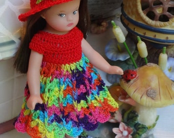 Crochet clothes Tonner Wee Patsy 6 inch doll Dress Hat Maryjane Shoes Red Festive Bead Blue Yellow
