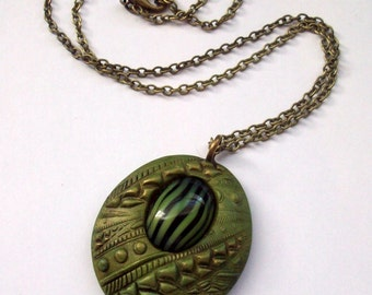 Autumn Elegance Polymer Clay Pendant Necklace
