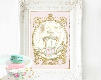 Once upon a time nursery print, a fairy tale princess carriage in pink and gold, A4 giclee