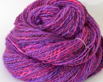 Handspun Yarn -  Spindle Spun Silk and Merino Yarn - Art Yarn- 1.5oz, 180yd, 18WPI