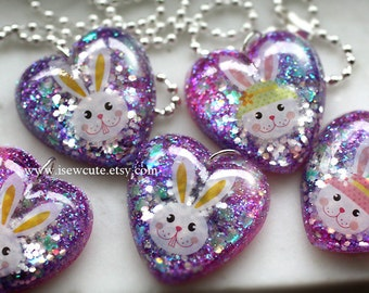 Purple Resin Glitter Heart, Girls Necklace, Cute Bunny Charm,  Kawaii Accessories, Rabbit Necklace, Bunny Jewelry, Sparkly Spring Jewelry
