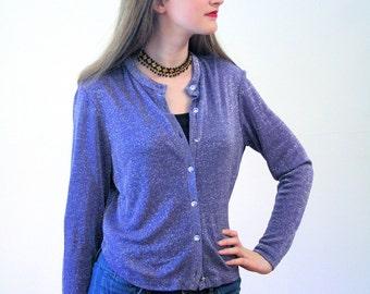 Purple Passion, 70s Metallic Cardigan, Sheer Cardigan, Lightweight Glam Jacket, Purple 1970s Top, Metallic Top, Shimmery Silver S M