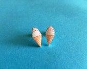 Hand Drawn Sprinkle Ice Cream Cone Earrings