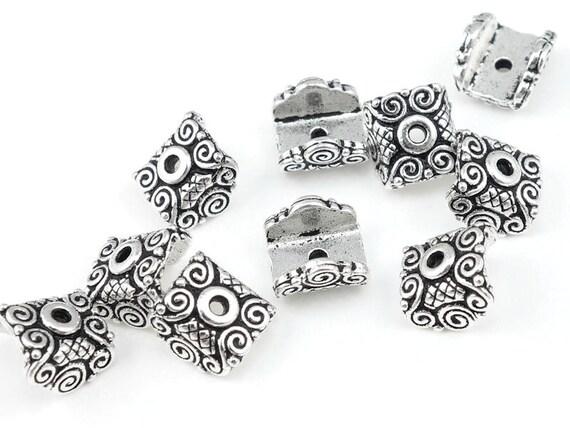 Silver Bead Caps Flat Caps for Lentil Beads TierraCast MIRAGE Antique Silver Beadcaps Pendant Caps for Pillow Rectangle Coin Beads (PC21)