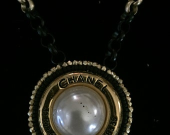 Black and Gold Necklace with Vintage Chanel  Earring with Address and Phone