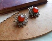 cinnamon red orange carnelian indian clip on earrings - vintage 60s costume jewelry made in india