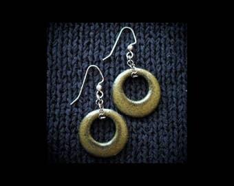 Ceramic Earrings: Speckled Olive Hoops