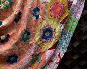 Antique Multi Color Grandmother's Flower Garden Honeycomb Quilt Hexagon Quilt Top Hand Stitched King Quilt Top 98 x 90 Peach Pink Background
