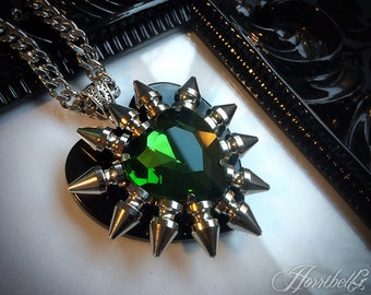 Green Spiked Heart Necklace // Spike Necklace // Gothic Necklace // Punk Necklace // Green Heart Pendant // Green Heart Necklace