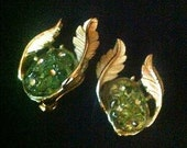 Vintage 1950s Emmons Clip On Earrings Poured Art Glass Green Flowers & Rhinestones w Gold Tone Leaves . 50s Costume Jewelry