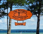Family Name Location Sign - Oval graphic and round garden holder - Custom Carved Redwood Sign