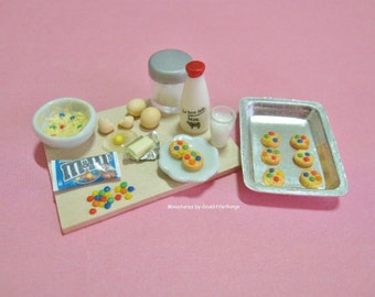 Dollhouse Miniature M and M Cookies Preparation Board