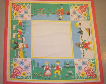 Vintage Tablecloth Celebrate the Swedish Seasons Signed
