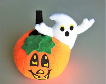 Russ Berrie Jack O' Lantern And Ghost Halloween Decoration , Vintage Felt Halloween Pumpkin , Retro Halloween Decor