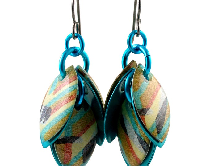 Custom Handcrafted Diagonal Stripes Dangle Earrings in Turquoise and Brown