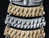 Jahrgang schwenkbar zwei Tone Eule Anhänger mit einer großen Augen große Anhänger Halskette 1970er Anweisung Halskette Partei Kette