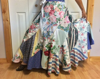 RESERVED Patchwork Long Maxi Skirt with Pocket/Long Hippie Skirt/Long Gypsy Skirt/Long Festival Skirt/Full Swing/Circle Skirt/Floral Print
