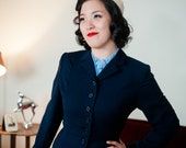 Vintage 1940s Jacket - Stylish Navy Blue Wool Late 40s Blazer with Nipped Waist and Faux Belt Hem Detail