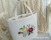 Vintage Needlepoint Hand Bag Purse | Rose Floral Design | Florida Souvenir Collectible