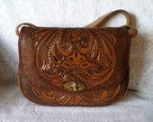Beautiful Boho-Chic, Hippy-Chic Vintage Carved, Tooled Leather Handbag with Floral Motif.