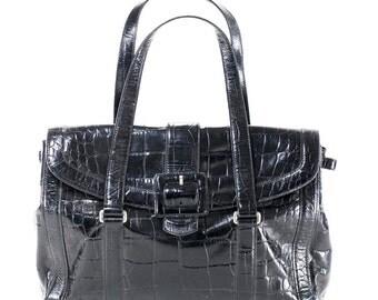 Ann Taylor Purse Large Black Genuine Leather Weekender Laptop Travel Bag