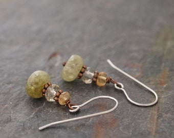 Citrine, Smoky Quartz and Green Garnet Earrings
