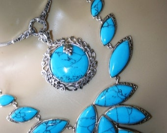 Sterling silver natural   turquoise  choker / necklace -just stunning