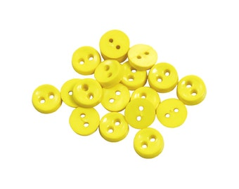 Set of 19 Mini Round Plastic 2-Holed Craft Sewing Buttons - Solid Vibrant Highlighter Yellow (6mm Wide, 2mm Thick)