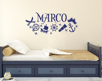 Pirate decor, Personalized wall decals, Pirate decals, Name decals, Pirate stickers, Wall stickers for bedroom, Pirate room decor DB195