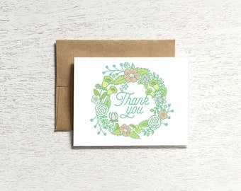 Thank you card, floral card, floral note card, thank you note cards, floral stationery, thank you card set, thank you notecards
